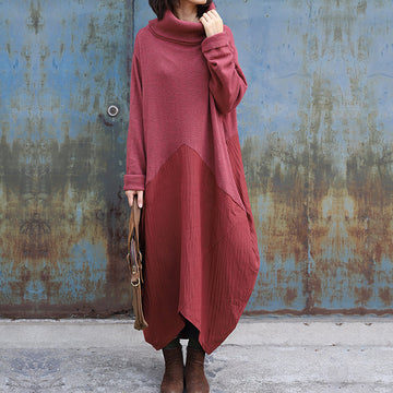 High Collar Spliced Winter Sweater Dress