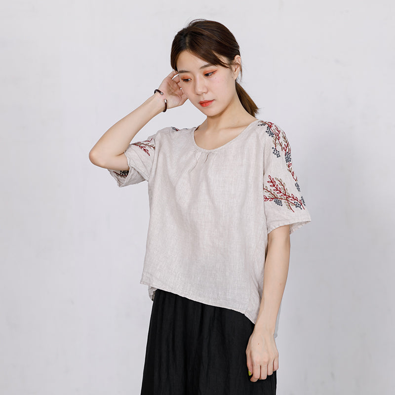 High Low Hem Embroidered Plants Loose T-Shirt
