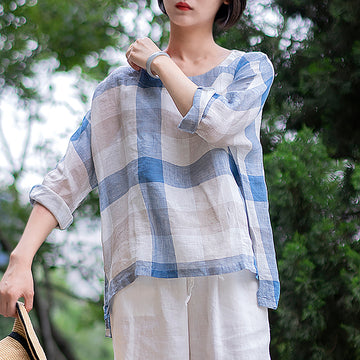 High Low Hem Plaid Casual Plus Size Blouse