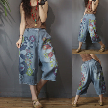 Hole Casual Smiley Flower Print Wide Leg Cropped Jeans