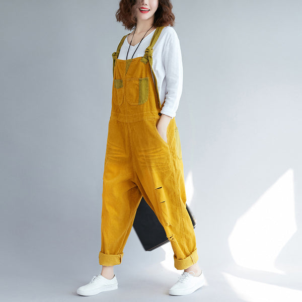 Hole Corduroy Vintage Washed Cotton Overalls