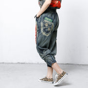 Hole Patchwork Contrast Color Casual Jeans