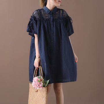 Hollow-out Lace Splicing Drawstring Shirt Dress