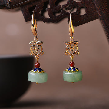Hollow Accessory Cloisonne Aventurine Earrings