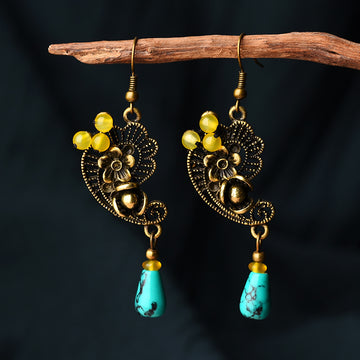 Hollow Alloy Flower Turquoise Earrings