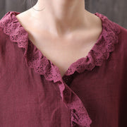 Hollow Embroidery Lace Peter Pan Collar Shirt