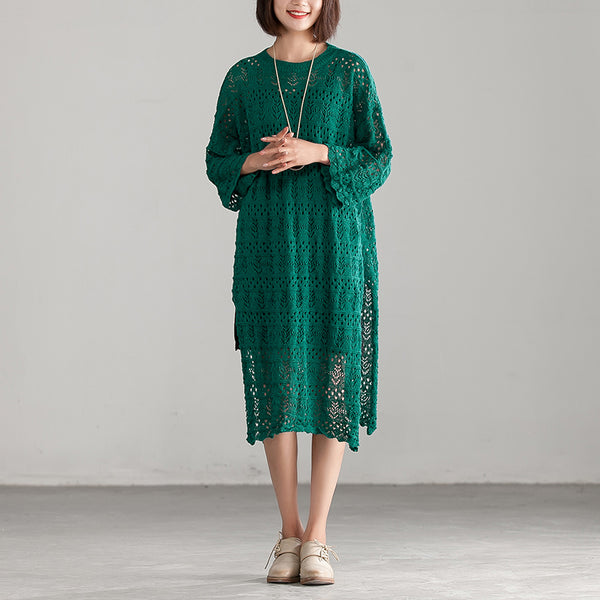 Hollow Green Long Sleeve Casual Knitted Dress