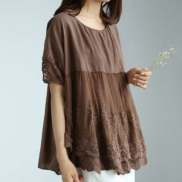 Hollow Lace Embroidery Patchwork Women Blouse