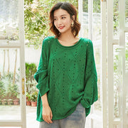 Hollow Out Bat Sleeve Casual Loose Sweater