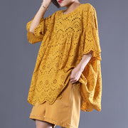 Hollow Out Solid Color Pleated Blouse