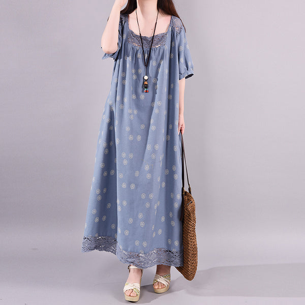 Hollow Out Spliced Printed Casual Dress