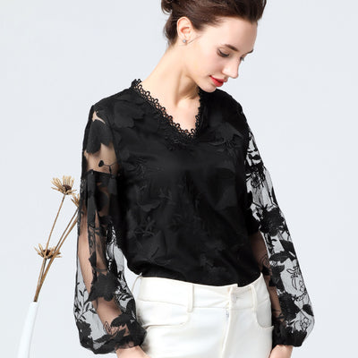 Hollow Out V-Neck Lace Plus Size Shirt