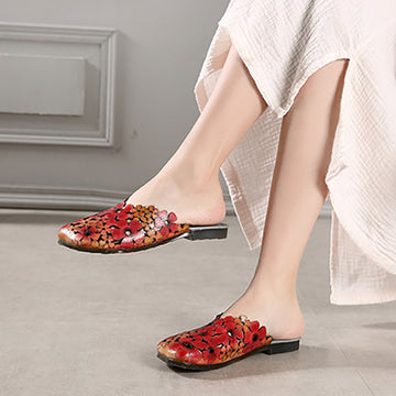 Hollowed-out Flower Summer Leather Slippers