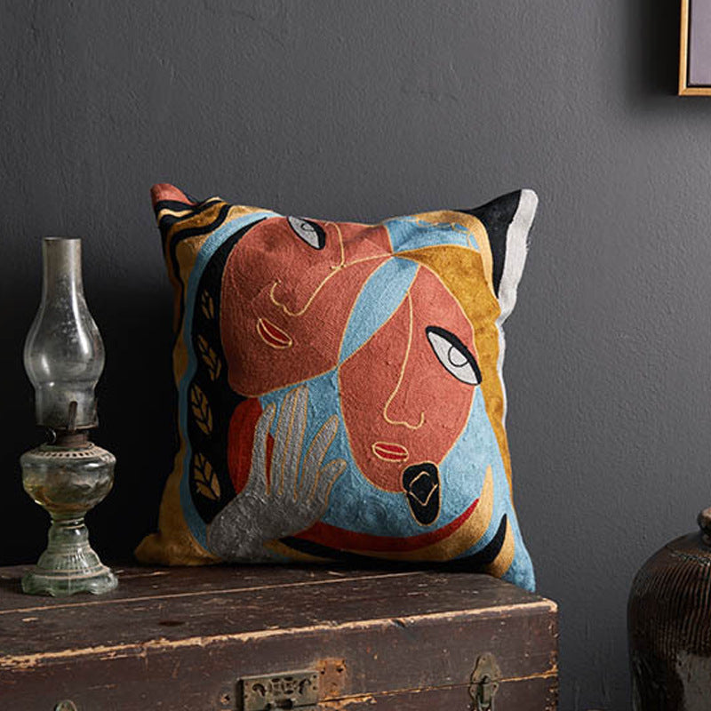 Home Sofa Cotton Oil Painting Pillow Case