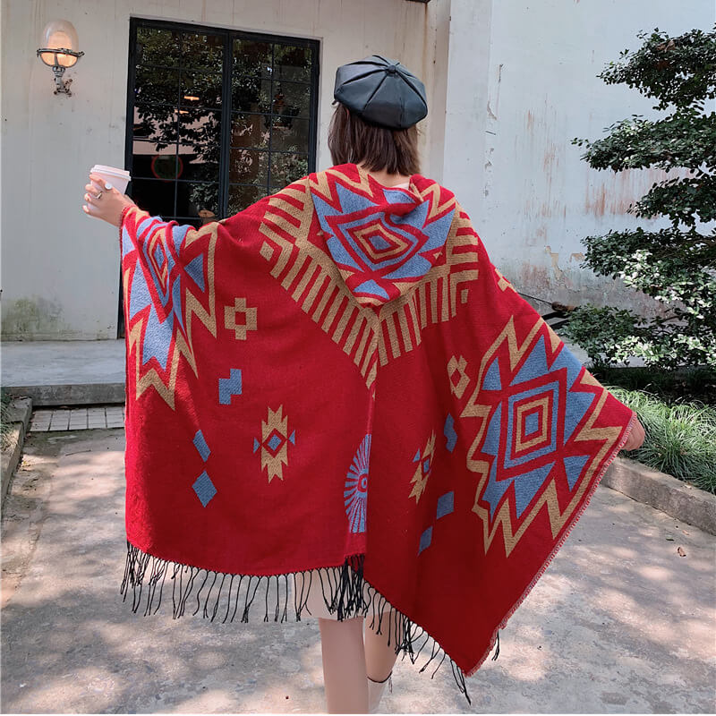 Hooded Tasseled Casual Travel Warm Scarf