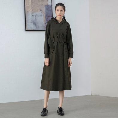 Hooded Belt Solid Fashion High Street Cotton Dress