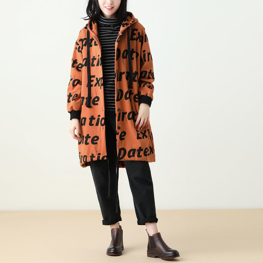 Letter Print Women Winter Hooded Coat