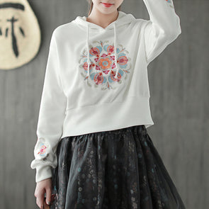Hooded Embroidery Cotton Short Women Hoodie