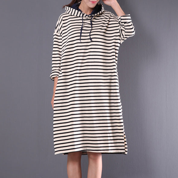 Hooded Loose Autumn Stripe Long Sleeve Slit Dress
