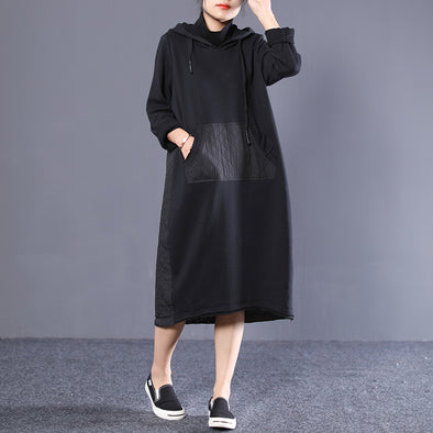 Hooded Turtleneck Women Cotton Long Sleeve Dress