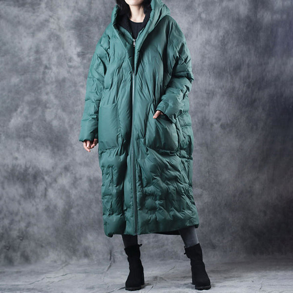 Hoodie Winter Zipper Up Women Long Cotton Coat