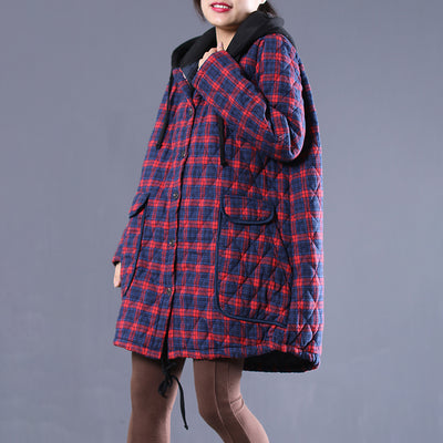 Hoody Plaid Drawstring Winter Women Coat