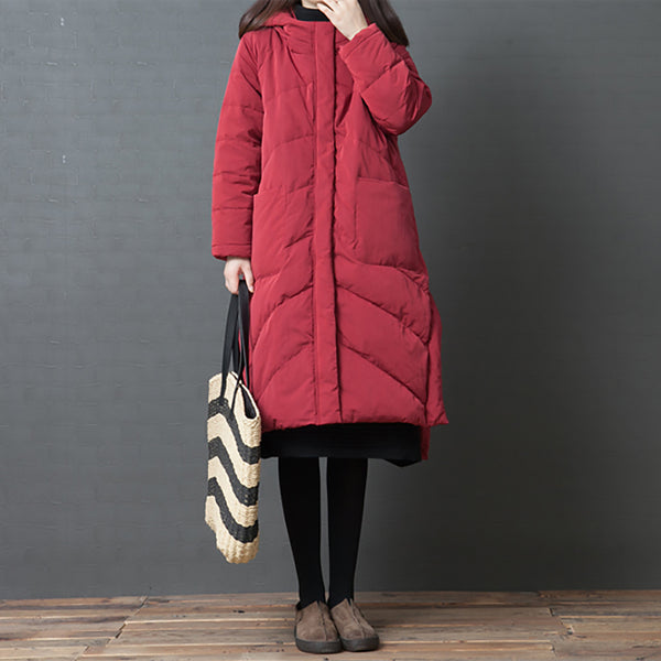 Hoodies Split Women Long Down Coat