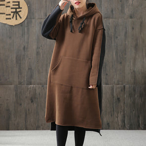 Hoody High-low Hem Split Spliced Winter Dress