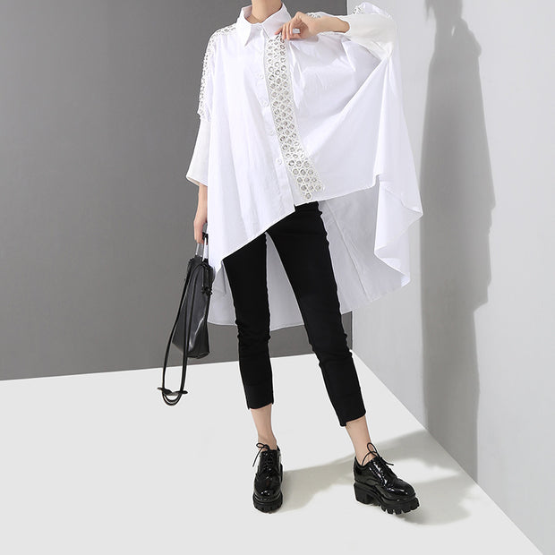 Hoop Decoration Irregular Casual Loose Shirt