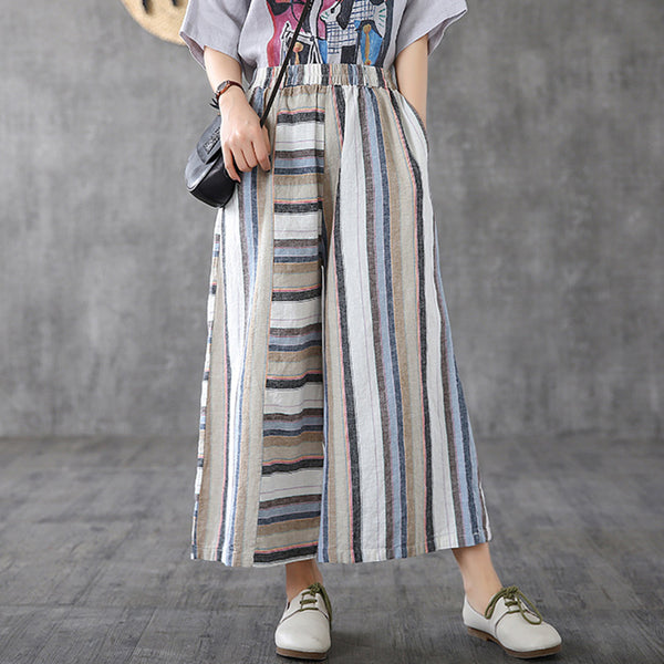 Horizontal And Vertical Stripes Spliced Loose Pants