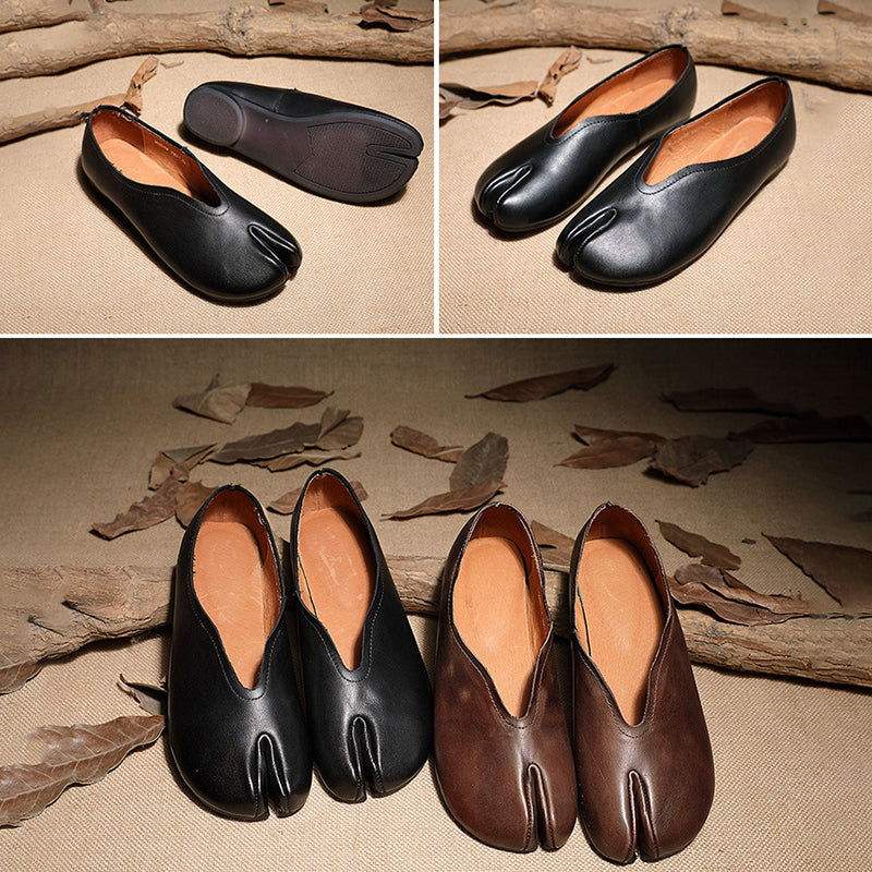Horseshoe Toe Solid Color Leather Flats