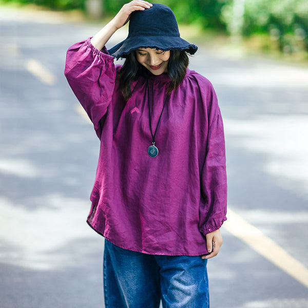 Cotton Linen Women Stand Collar Pleated Puff Sleeves Purple Red Shirt - Buykud