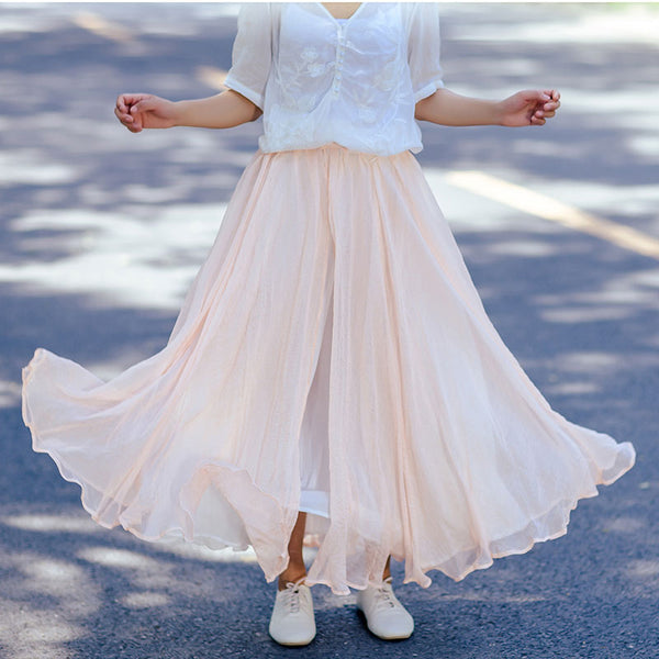 Elegant Sweet Women Chiffon Side Slit Two Layers Pink Pleated Skirt - Buykud