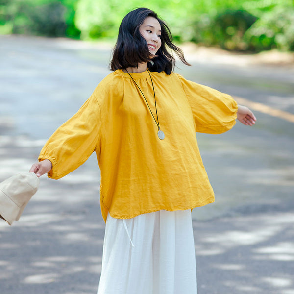 Cotton Linen Women Stand Collar Pleated Puff Sleeves Yellow Shirt - Buykud