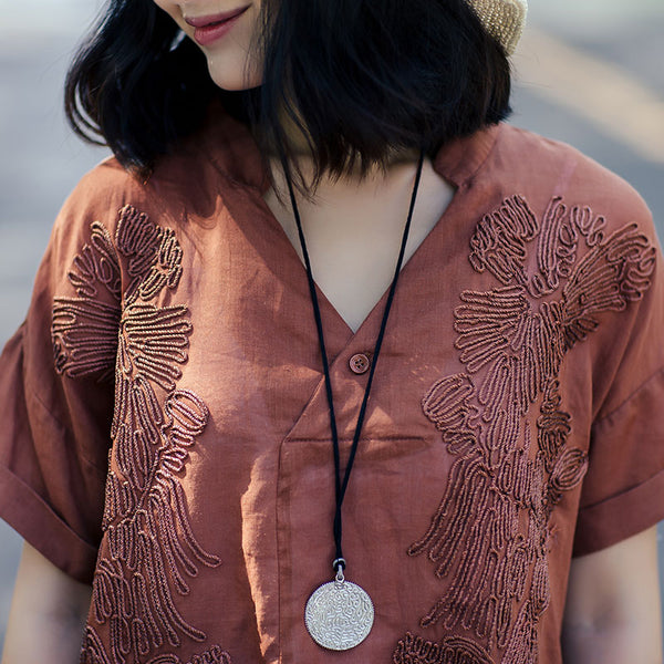 Literature Women Summer V Neck Embroidered Coffee Shirt - Buykud