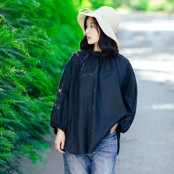 Cotton Linen Women Stand Collar Pleated Puff Sleeves Black Shirt - Buykud