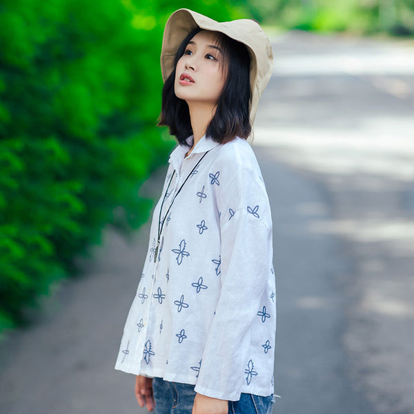Exquisite Embroidery Polo Collar Long Sleeve Women White Shirt - Buykud