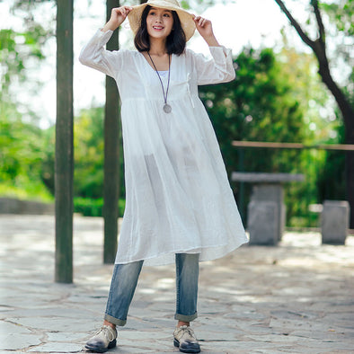 Women White Retro Three Quarter Sleeve Pleated Lacing Cardigan Dress - Buykud