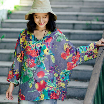 Summer Women Retro Floral Printing Cotton Linen Loose Shirt - Buykud