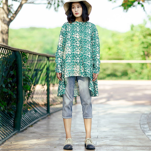 Ethnic Women Cotton Stand Collar Printing Irregular Green Shirt - Buykud