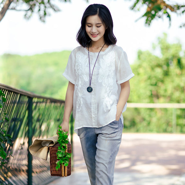 Summer Women Embroidered Short Sleeves White Shirt - Buykud