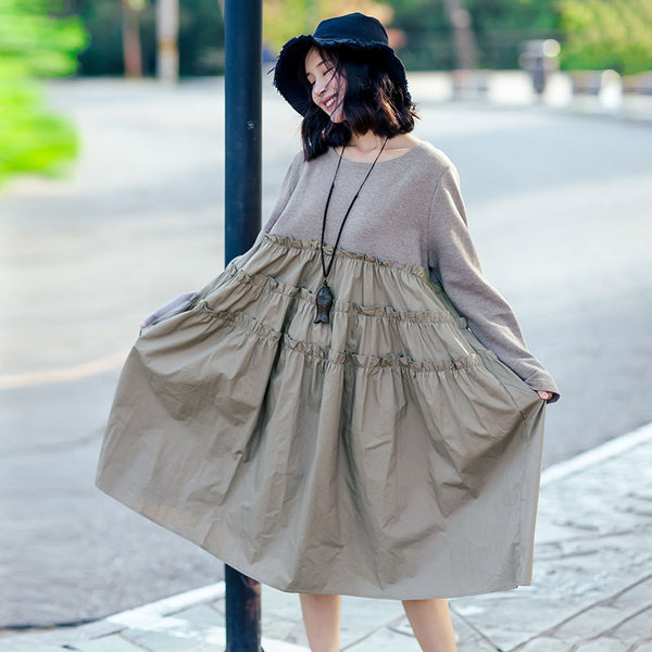 Literature Women Cotton Polyester Splicing Pleated A-line Khaki Dress - Buykud