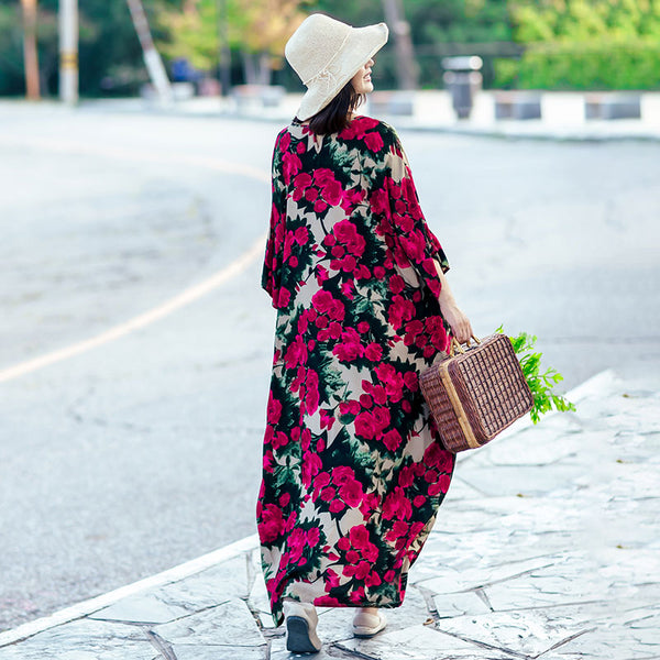 Retro Women Floral Casual Loose Cotton Bat Sleeves Red Dress - Buykud