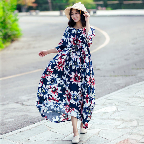 Printing Exotic Loose Casual Women Pleated Cotton Blue Dress - Buykud
