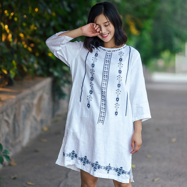 Ethnic Style Printing Split Casual Loose Linen White Shirt - Buykud