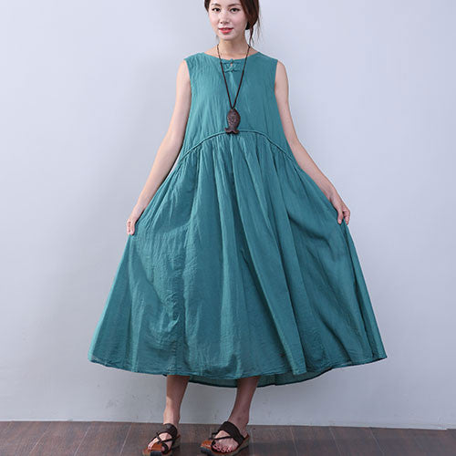 Women Summer Elegant Folded Sleeveless Green Dress - Buykud