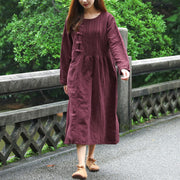 Women Frogs Retro Long Sleeve Pockets Retro Wine Red Dress - Buykud