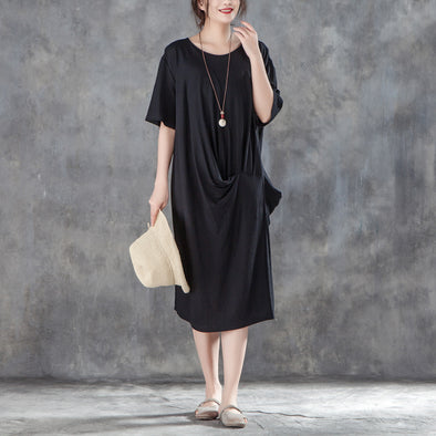 Women Loose Baggy Summer Short Sleeve Black Dress