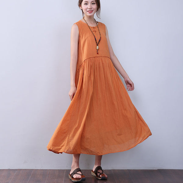 Women Summer Elegant Folded Sleeveless Yellow Dress - Buykud