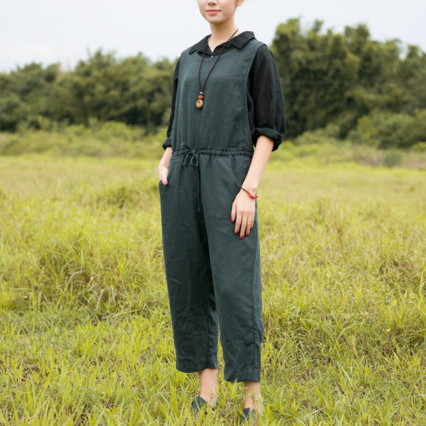 Women Lacing Pockets Casual Dark Green Sleeveless Jumpsuit - Buykud
